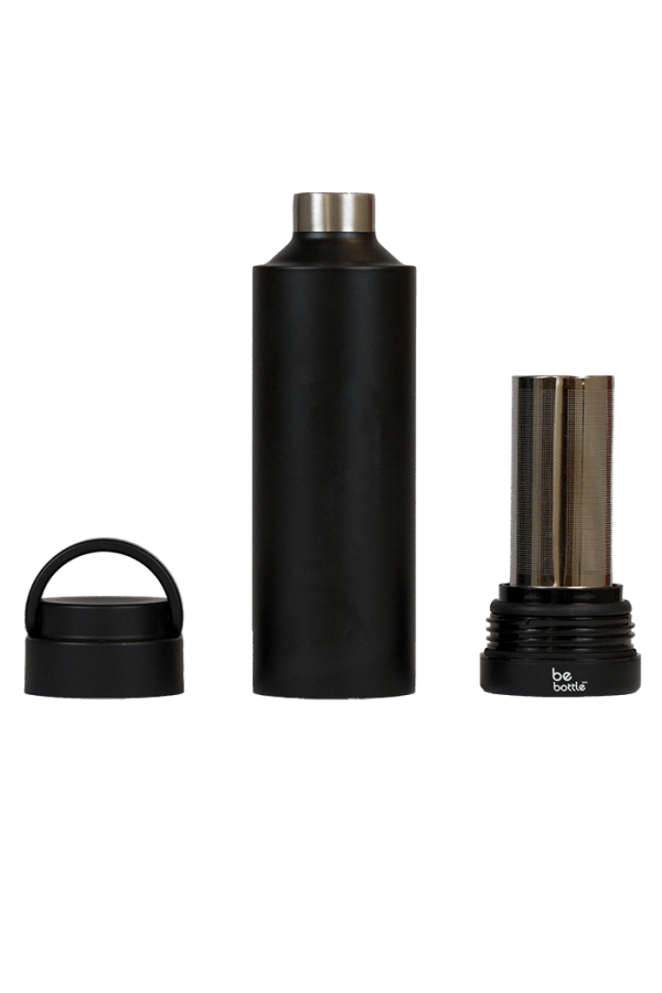 Black bottle with removable top and bottom