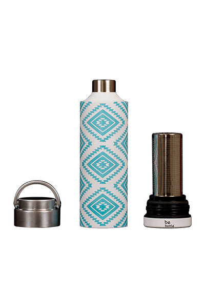 Blue Aztec print bottle with removable top and bottom