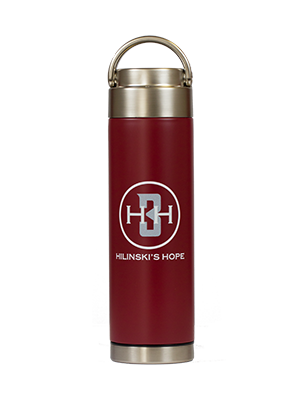 stainless steel reusable water bottle crimson Hilinski's Hope logo
