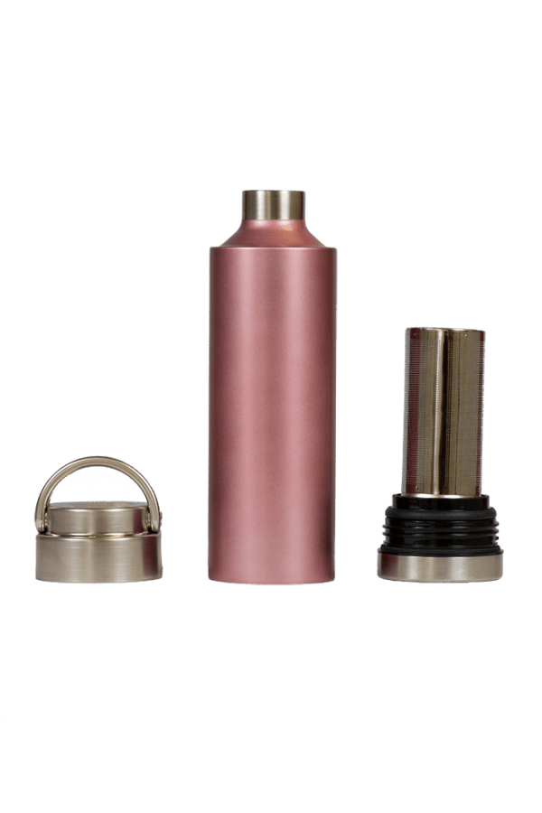 Rose gold pink bottle with removable top and bottom