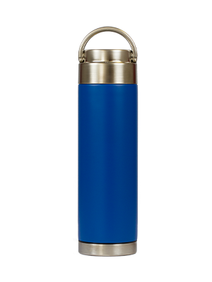 blue stainless steel reusable water bottle
