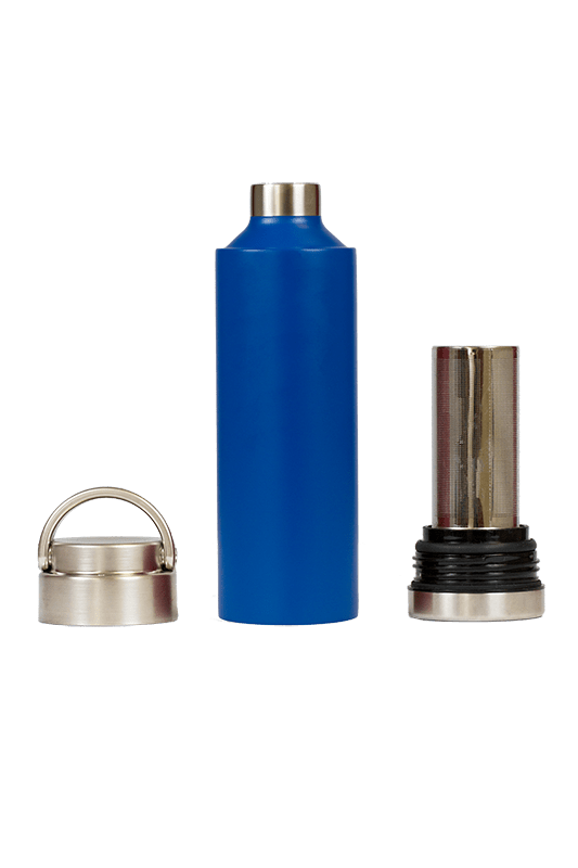 Blue stainless steel bottle with removable top and bottom