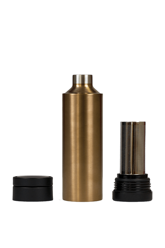 Metallic copper bottle with removable bottom