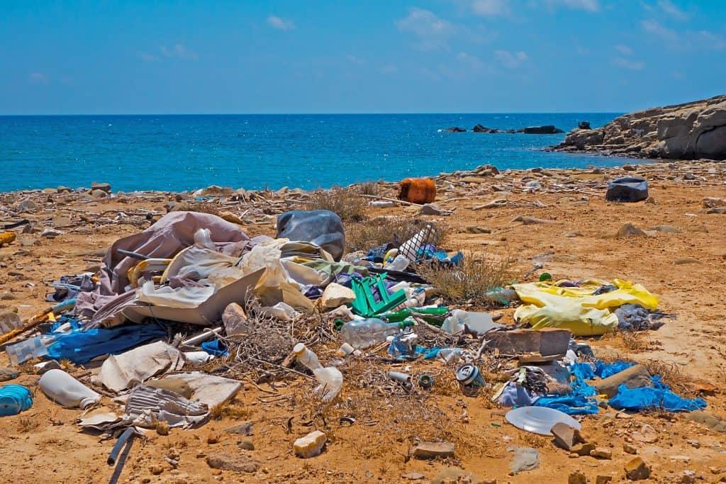 Single Use Plastic on Beach